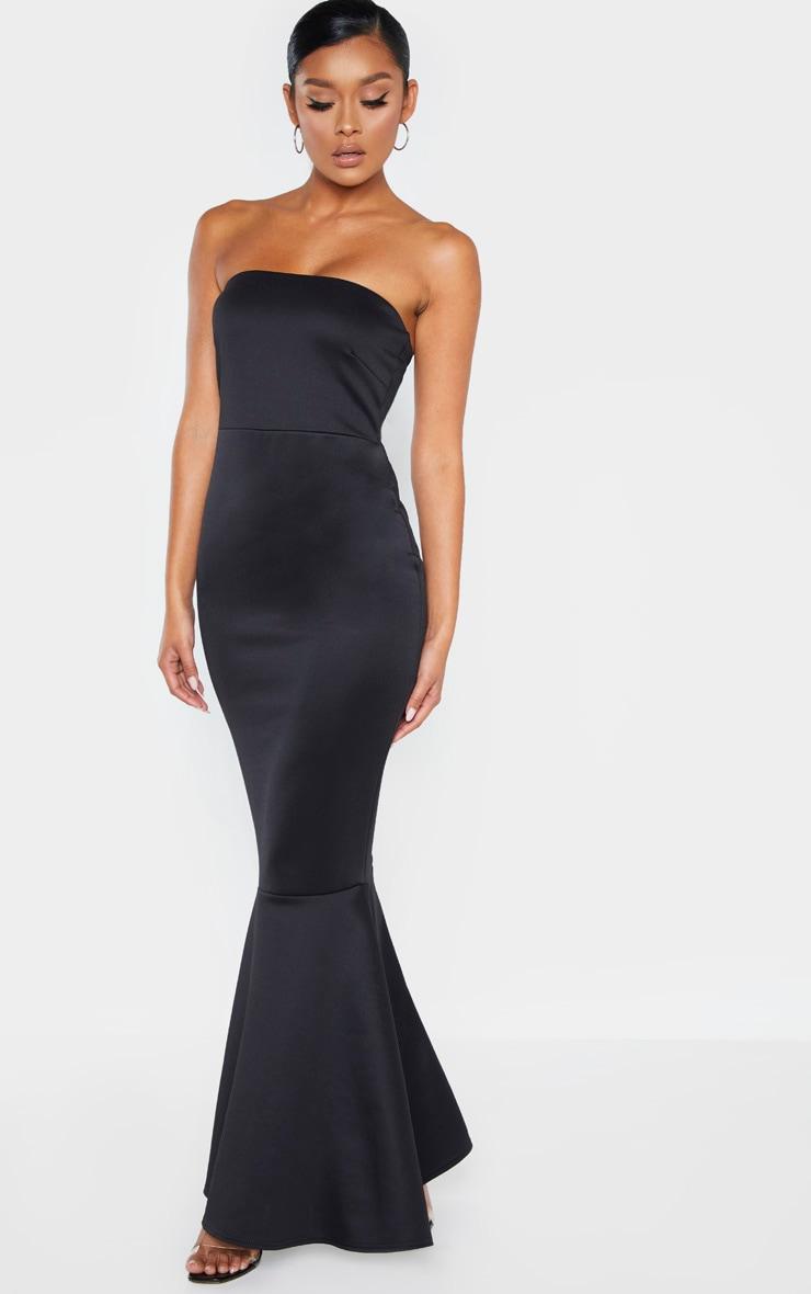 Black Scuba Bandeau Fishtail Maxi Dress 1