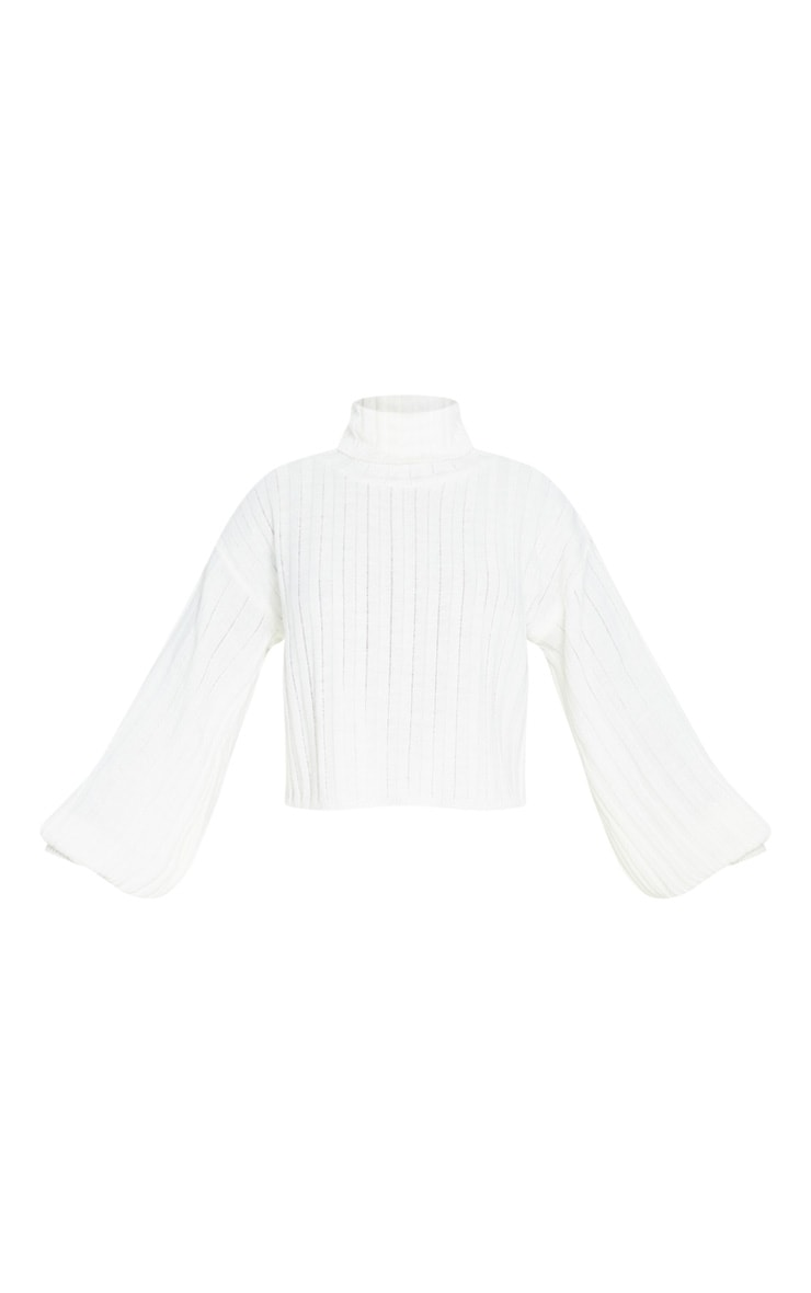 Ivory Balloon Sleeve Roll Neck Ribbed Jumper 3