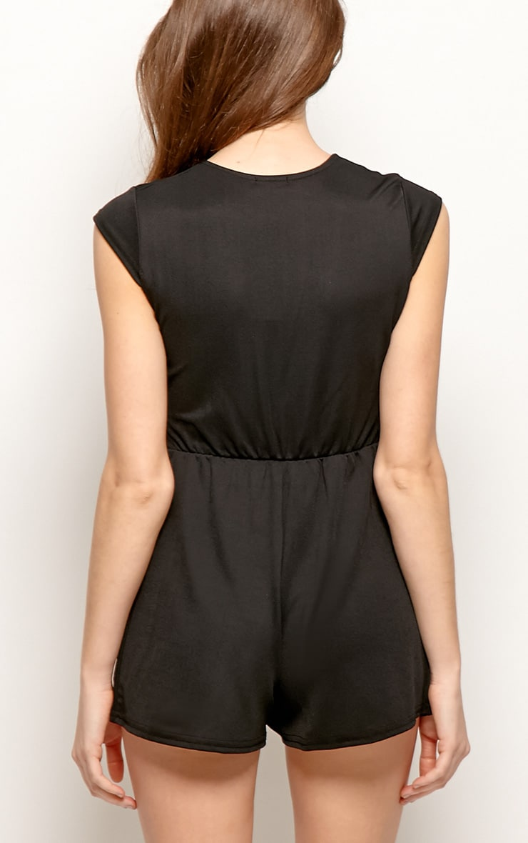 Allie Black V Neck Playsuit 2