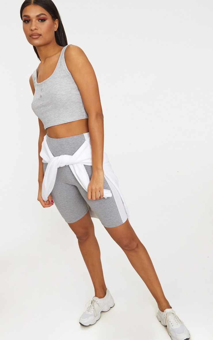Grey Button Front Rib Crop Top 4