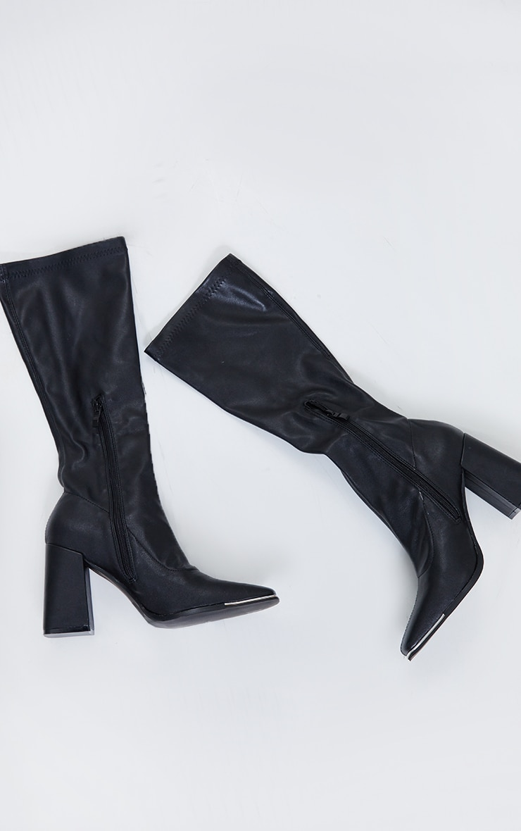 Black PU Toe Cap Square Toe Calf Heeled Sock Boots 3