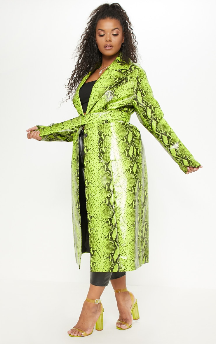Plus Neon Green Snake Print PU Trench 4