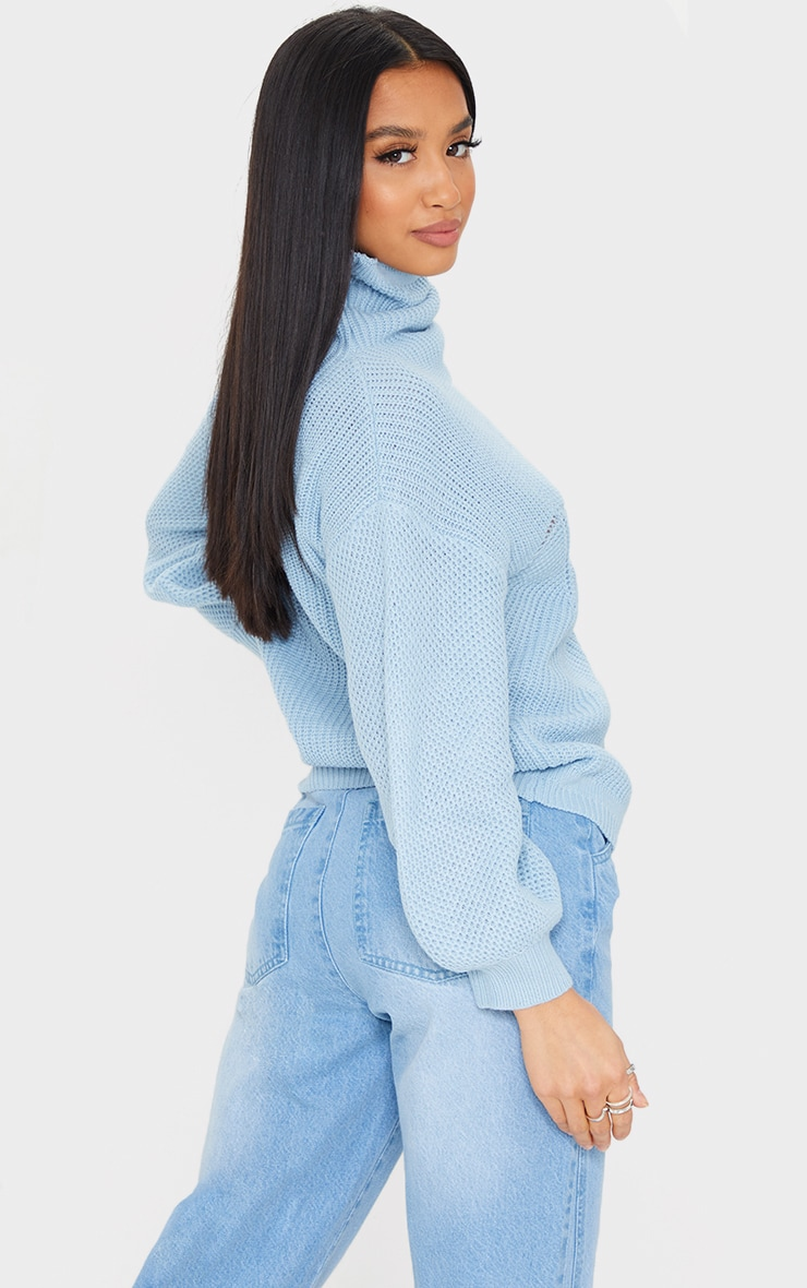 Petite Blue Pointelle Detail Knitted Sweater 2