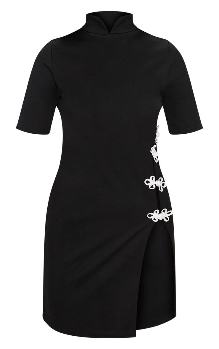 Black Oriental Short Sleeve Split Leg Bodycon Dress  3