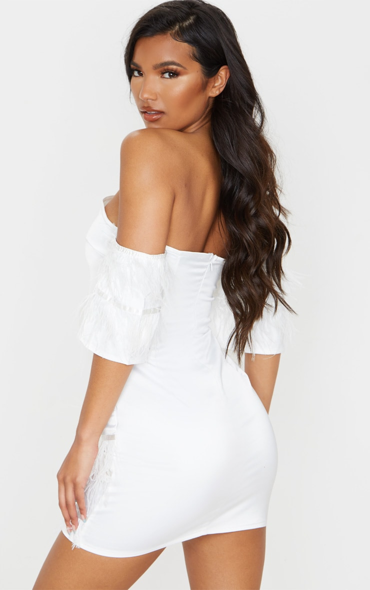 White Satin Feather Tiered Bodycon Dress 2