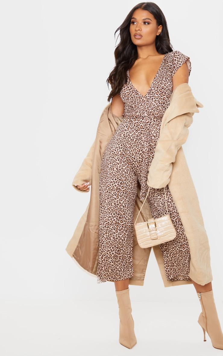 Tan Leopard Print Wrap Culotte Jumpsuit 1
