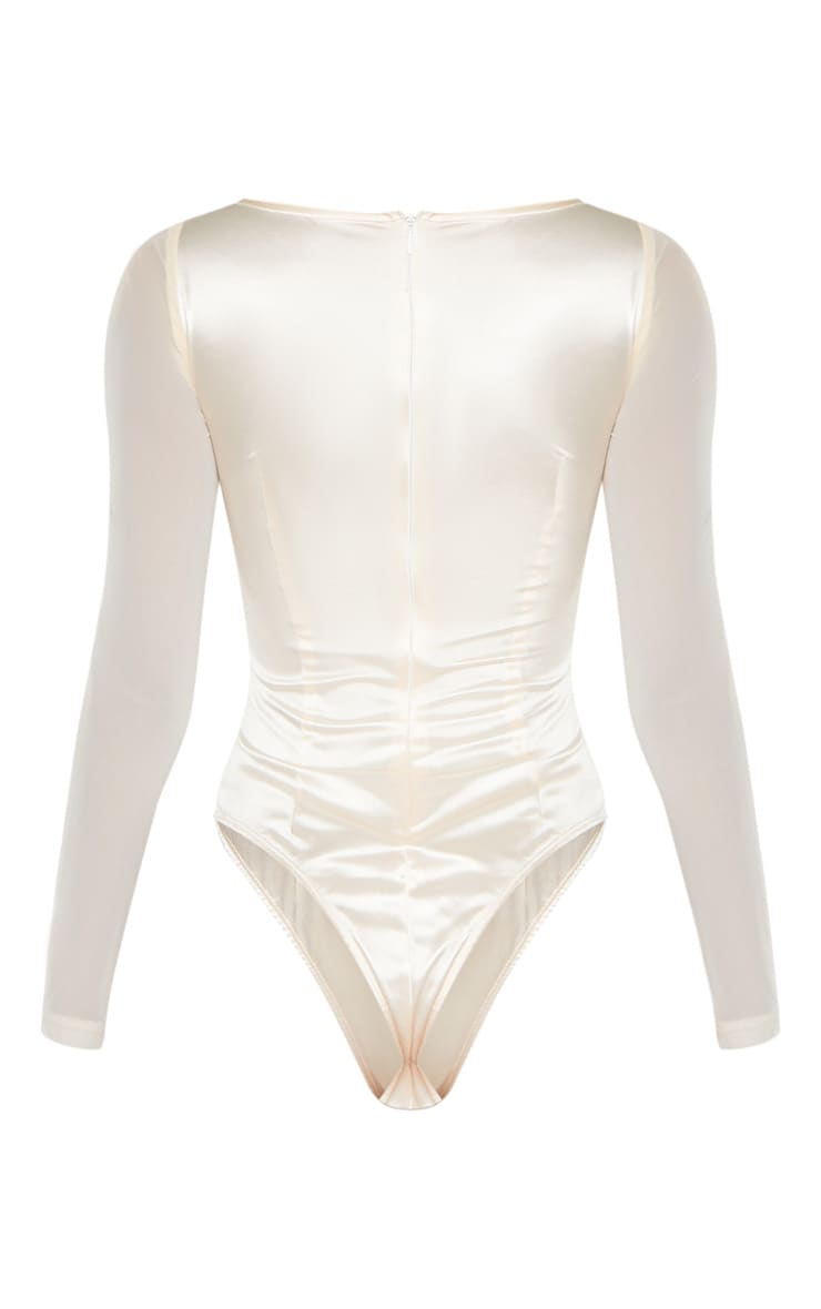 Champagne Satin V Bar Cut Out Detail Bodysuit 4