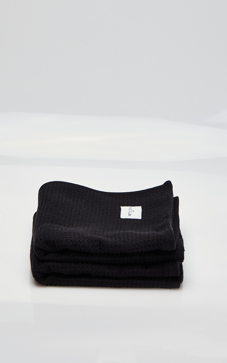 Black Waffle Cotton Hand Towel Pack Of 2 4