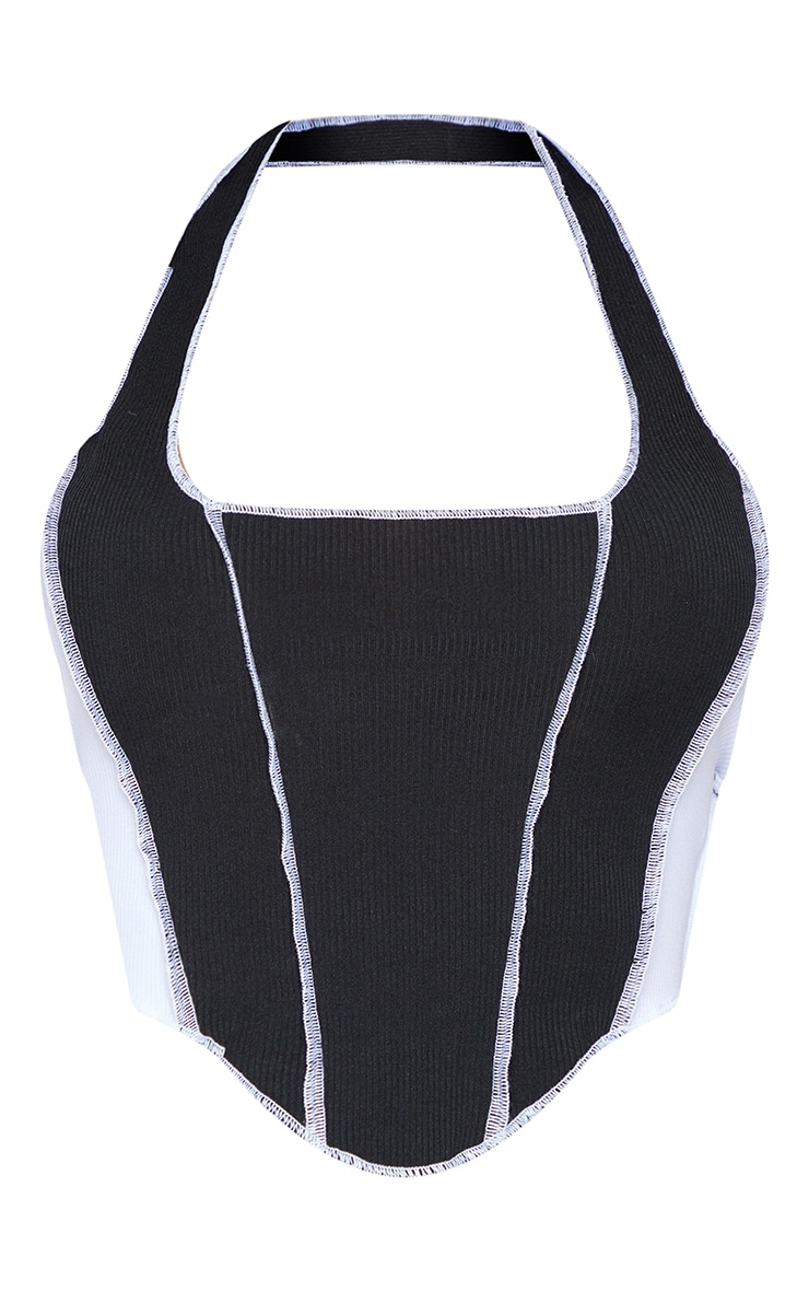 Shape Black Rib Panel Detail Halterneck Crop Top 5