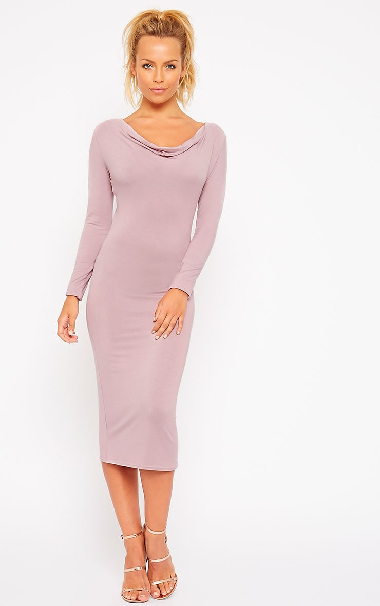 Lise Mauve Jersey Cowl Neck Midi Dress 3