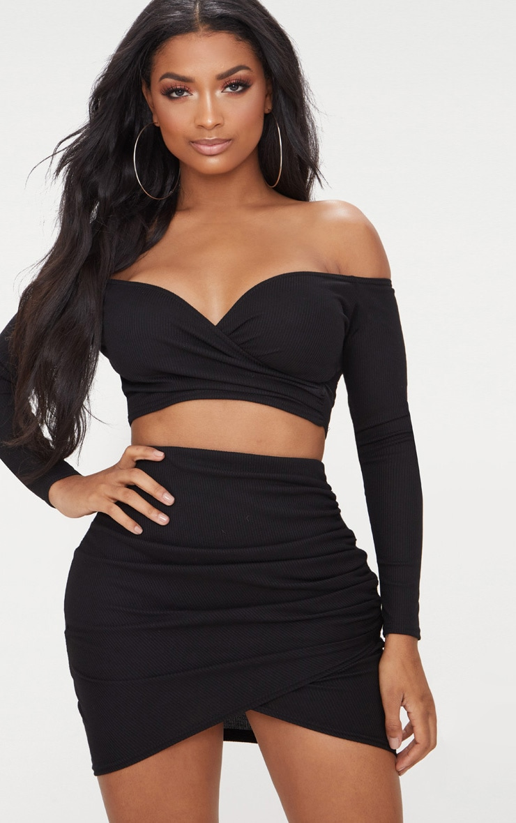0e56367056ba15 Shape Black Wrap Bardot Ribbed Crop Top image 1