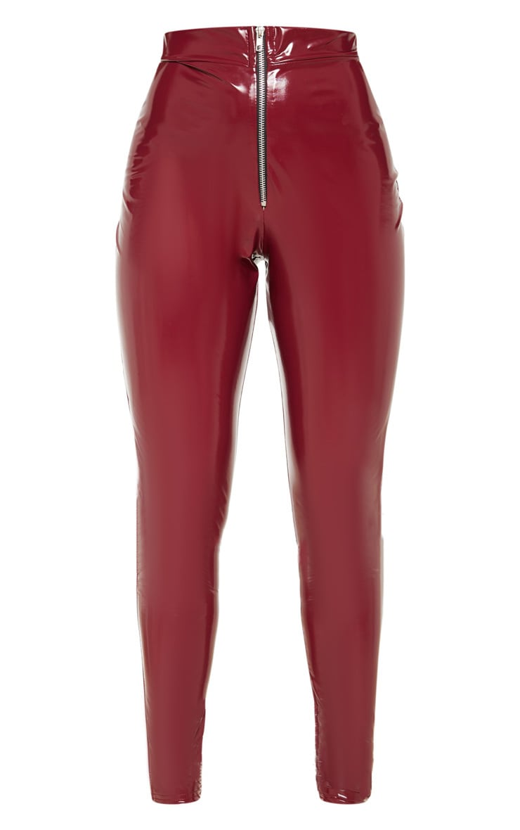 Petite Burgundy Vinyl Zip Detail Pants 3