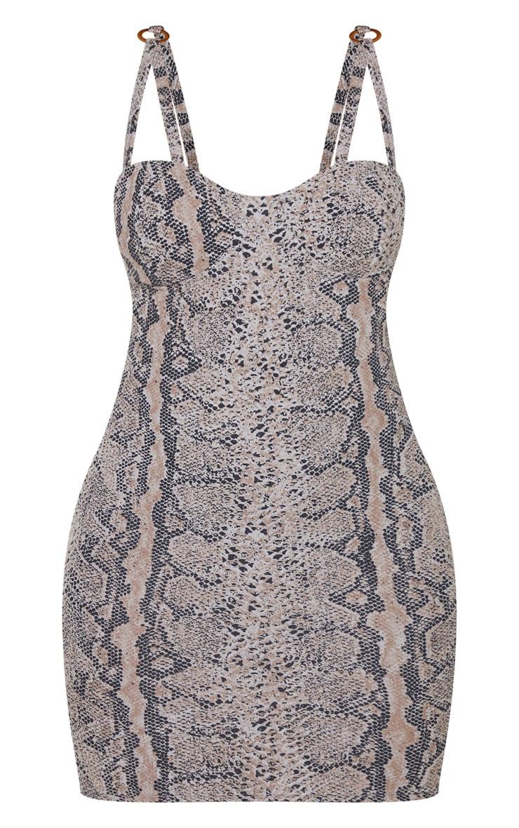 Grey Print Double Strap Ring Detail Bodycon Dress 5