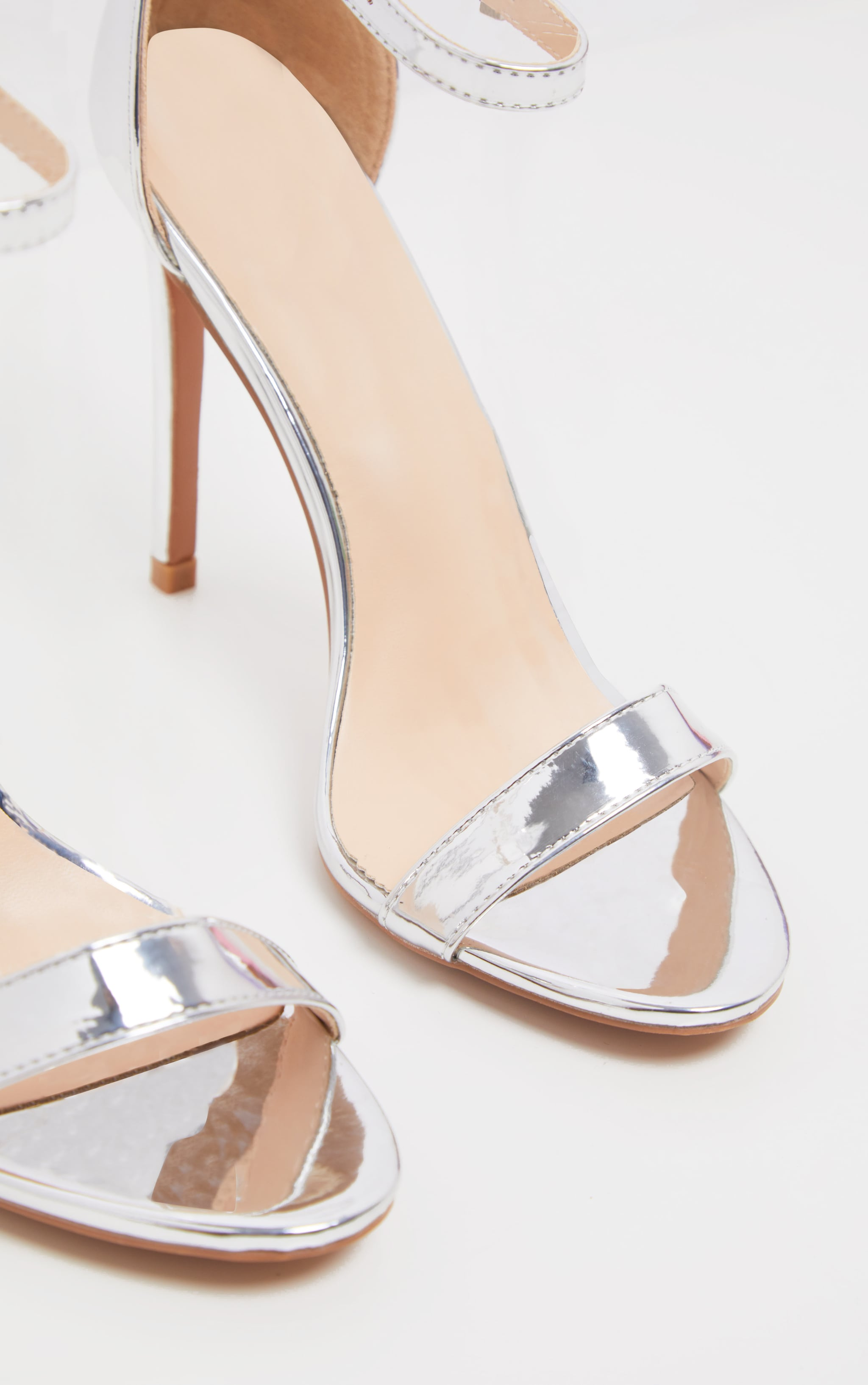 Clover Silver Metallic Strap Heeled Sandals 3