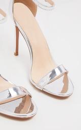 Clover Silver Metallic Strap Heeled Sandals 3