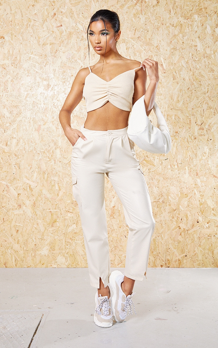 Cream Recycled Wide Rib Ruched Bralet 3