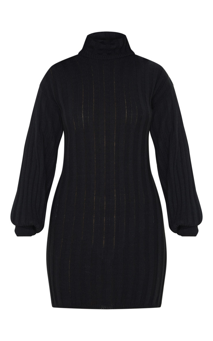 Black Roll Neck Ribbed Knitted Jumper Dress 3