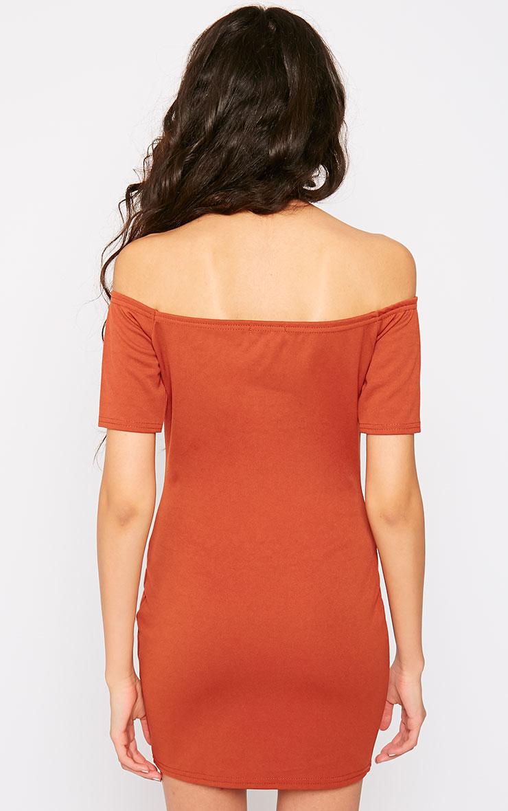 Tobiah Rust Bardot Bodycon Dress 2