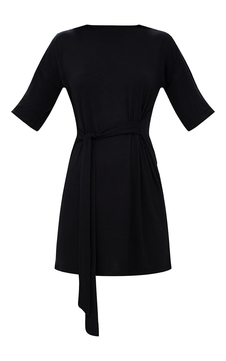 Black Tie Waist T Shirt Dress 3