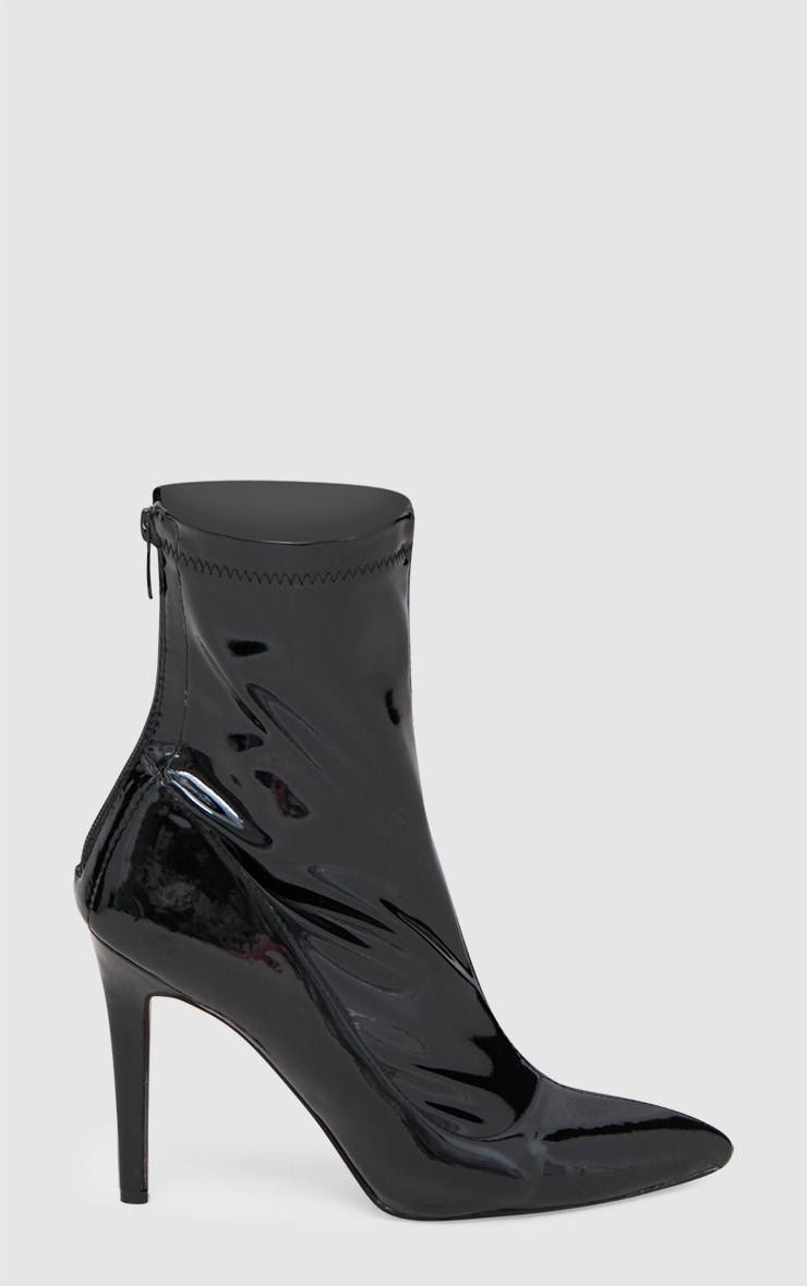 Black Vinyl Pointed Ankle Boots 3