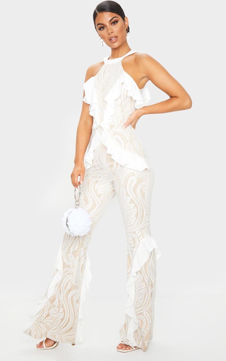 White Ruffle Detail Lace Jumpsuit 3