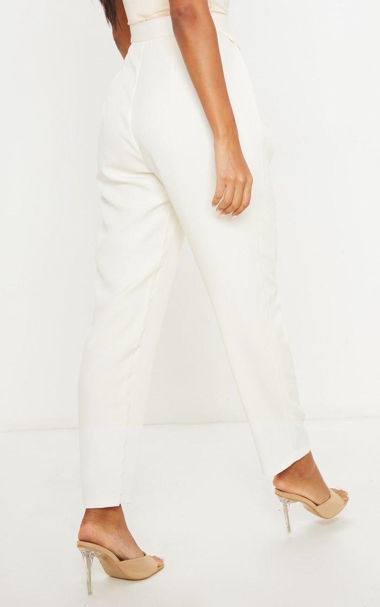 Cream Tapered Button Front Pants 4