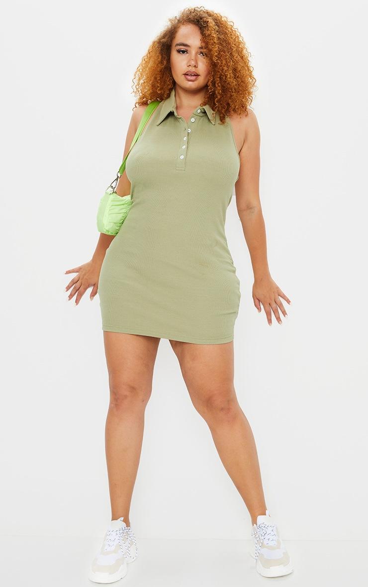 Plus Sage Green Rib Collar Detail Bodycon Dress 1