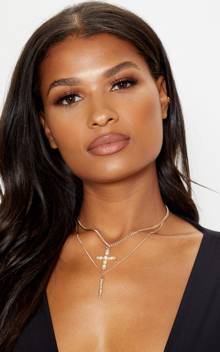 Gold Diamante Cross And Dagger Double Layering Necklace 1