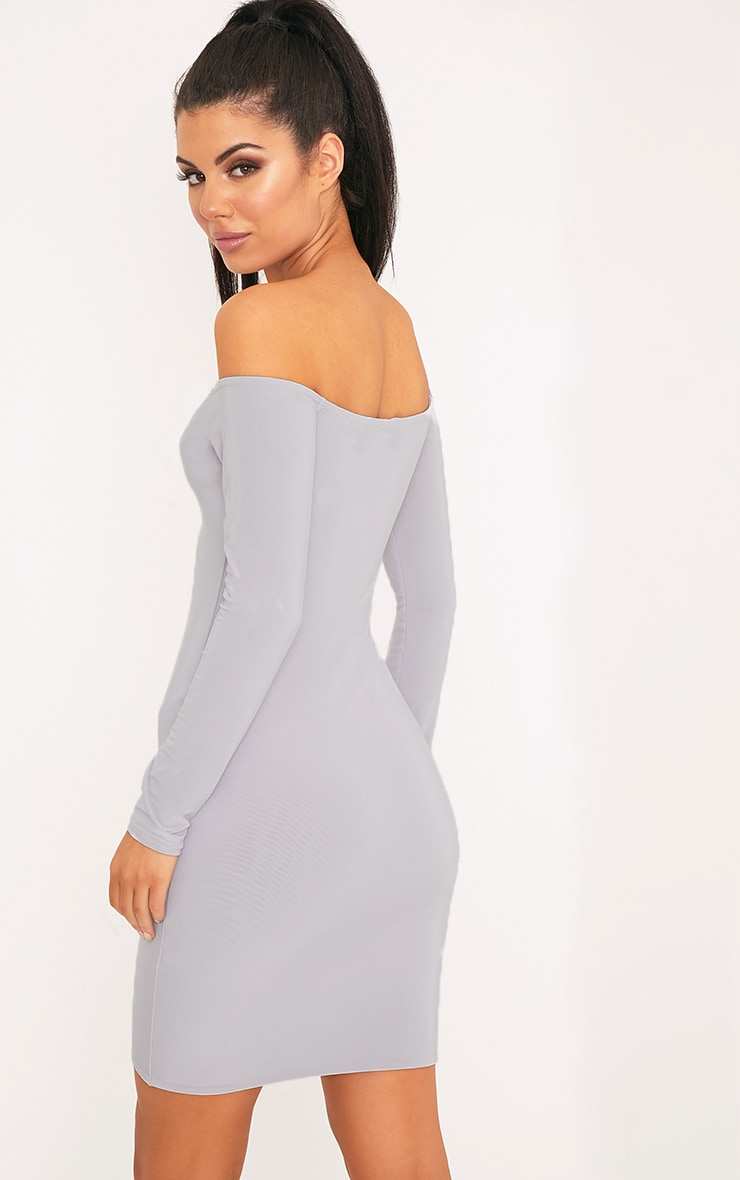 Margot Ice Grey Lace Up Bardot Bodycon Dress 2