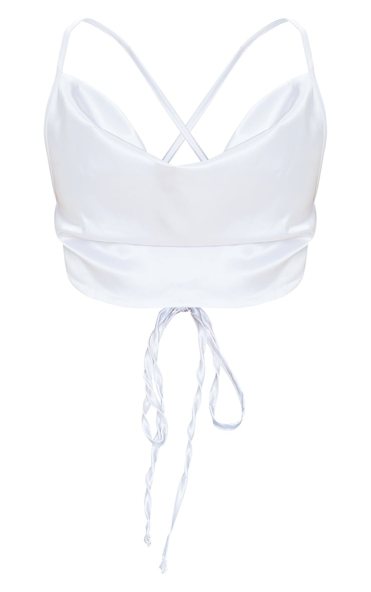 White Satin Cowl Neck Strappy Back Crop Top 5