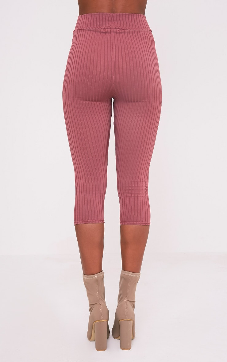 Harlie Rose Cropped Ribbed High Waisted Leggings 6
