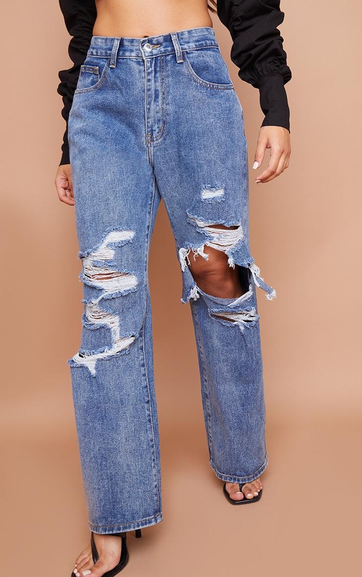 Petite Blue Mid Wash Open Knee Ripped Boyfriend Jeans 2