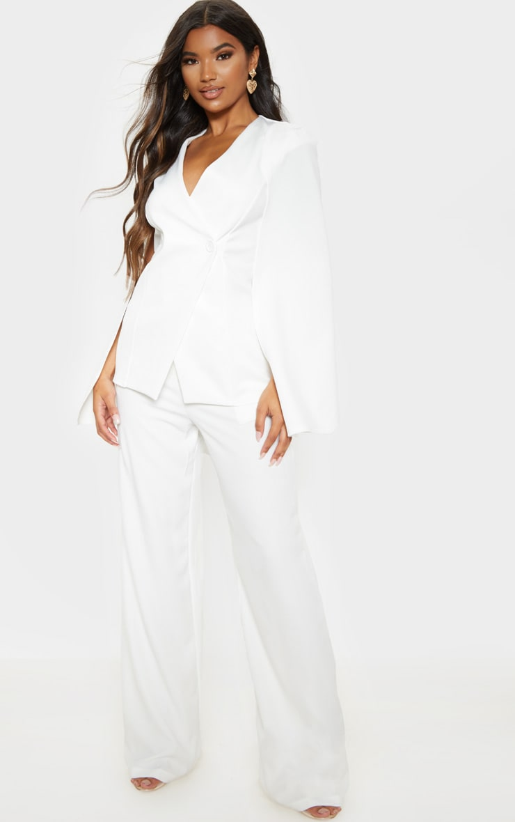 White Button Front Cape Blazer image 4