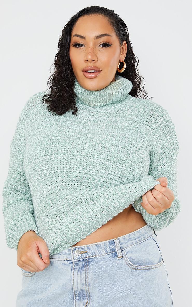 Plus Sage Green Fisherman Knit Roll Neck Sweater 1