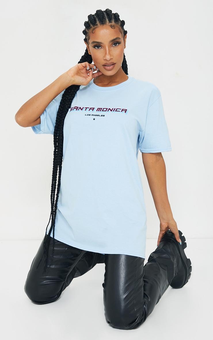 Baby Blue Santa Monica Printed T Shirt 3