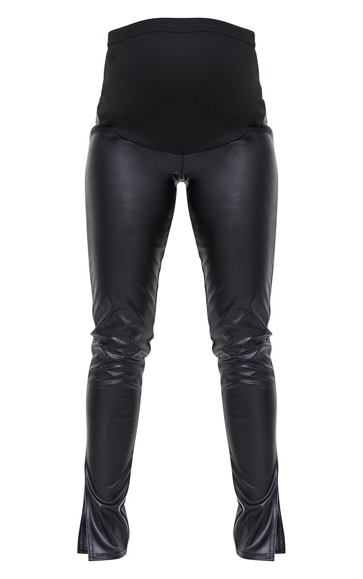 Maternity Black Faux Leather Split Hem Trousers 5