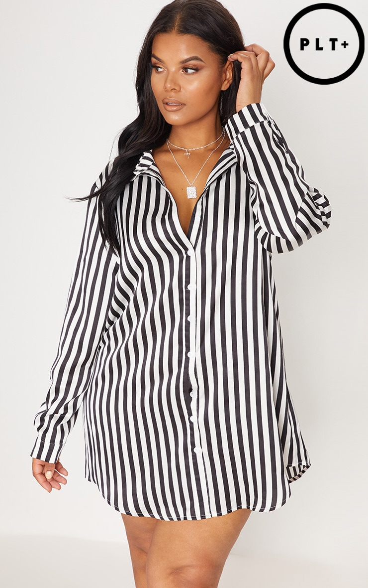 Plus Black Striped Satin Button Front Shirt Dress 1