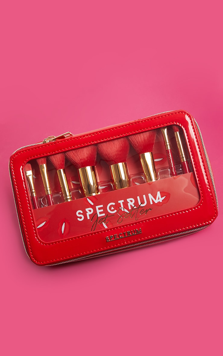 Spectrum Collections Red Jet Setter Travel Size 8 Piece Brush Set 3