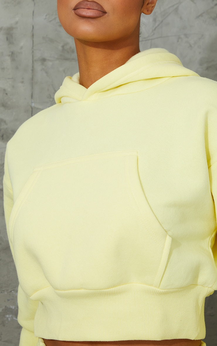 Yellow Pocket Front Cropped Hoodie 4