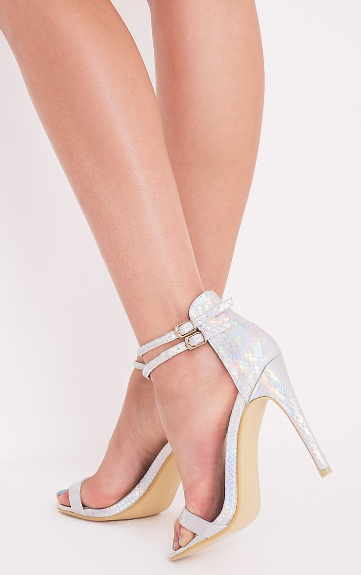 Nude Patent Two Strap Barely There Heels   Missguided