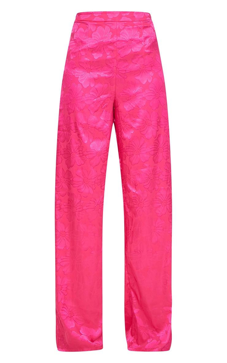Hot Pink Jacquard Satin Wide Leg Trousers  4