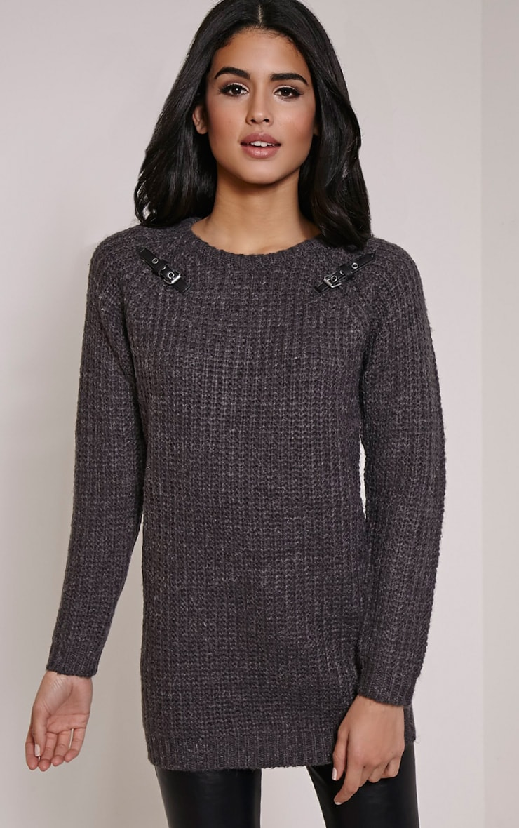 Emily Grey Buckle Detail Knitted Jumper 1