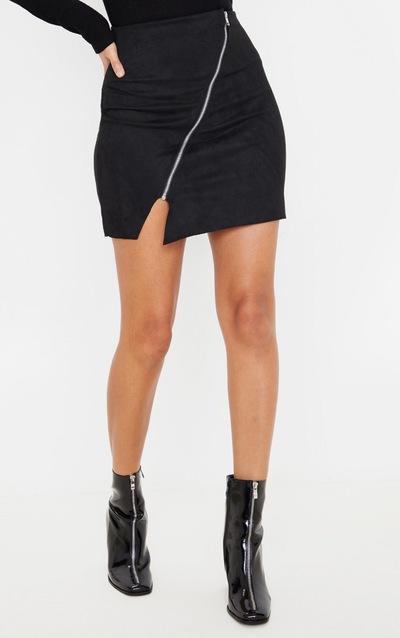 Black Faux Suede Zip Detail A Line Skirt