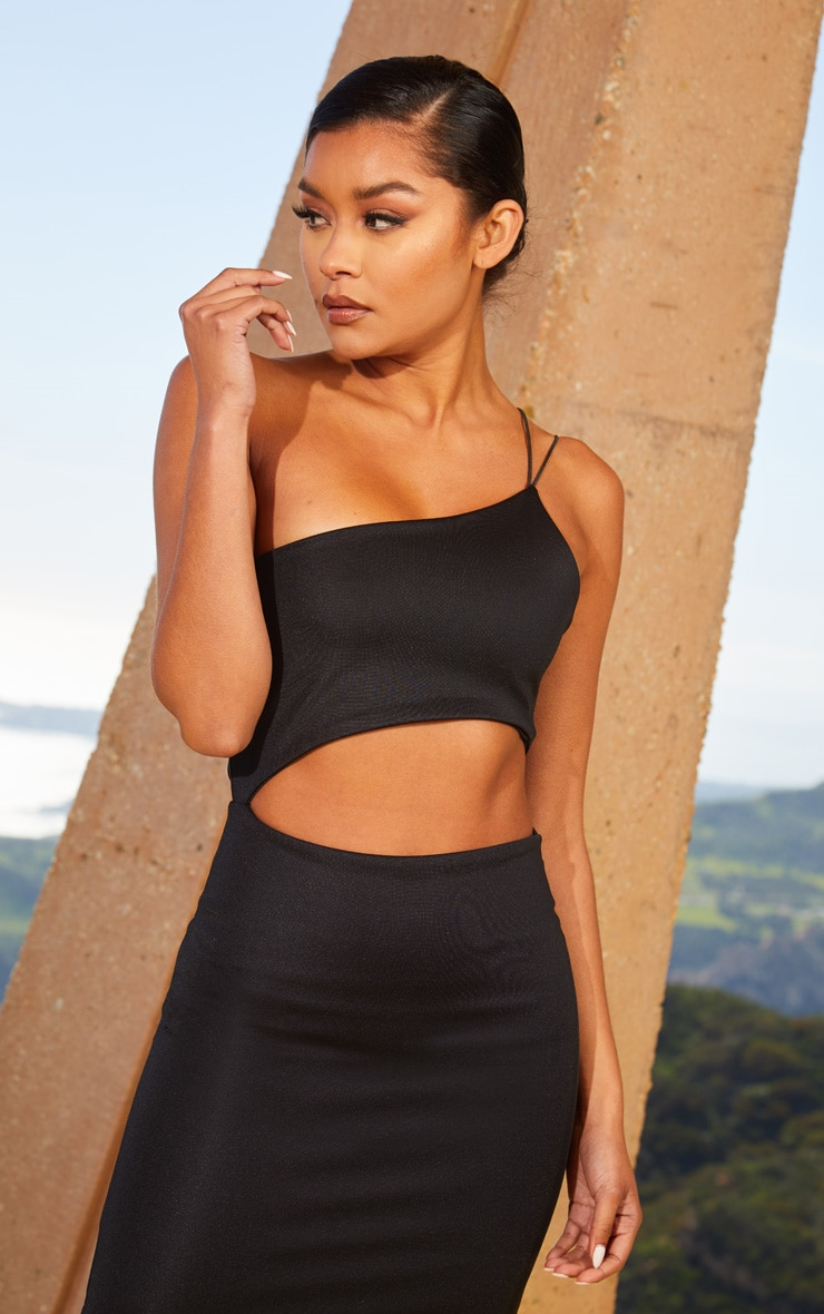 Black Second Skin One Shoulder Cut Out Bodycon Dress 5