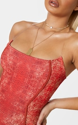 Red Snake Print Binded Detail Clear Strap Bodycon Dress 5