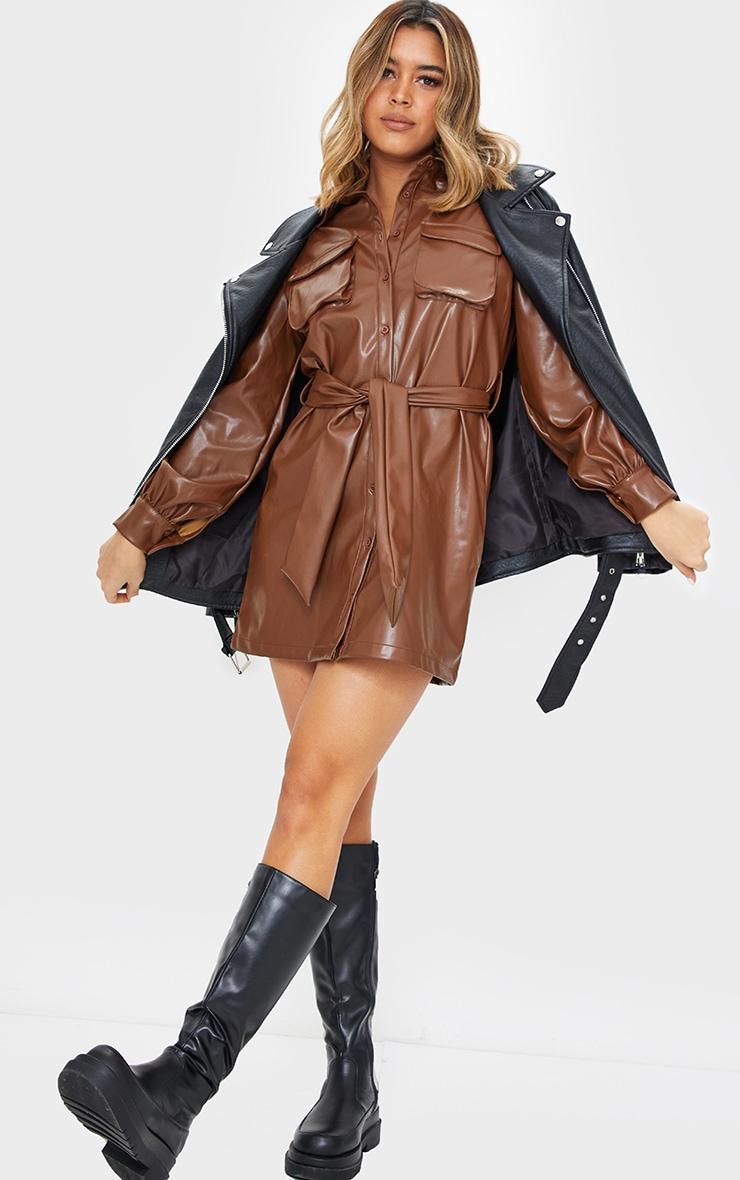 Chocolate Faux Leather Pocket Detail Shirt Dress 3