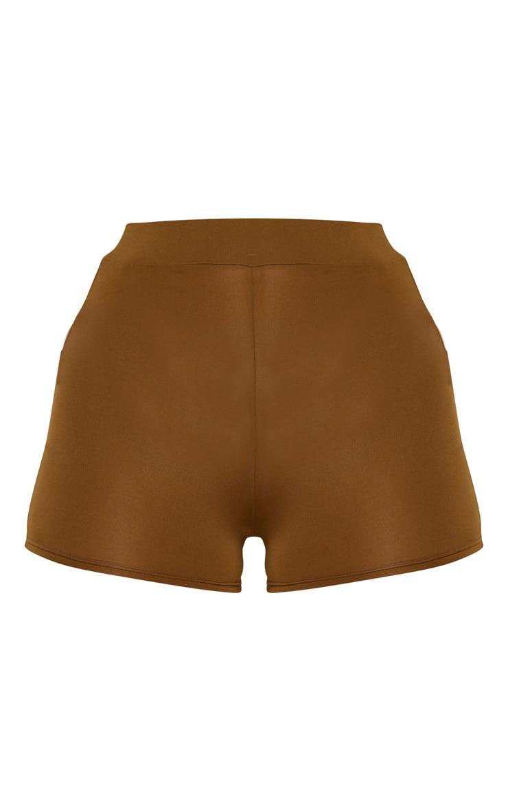 Khaki Elasticated High Waist Mini Shorts 3