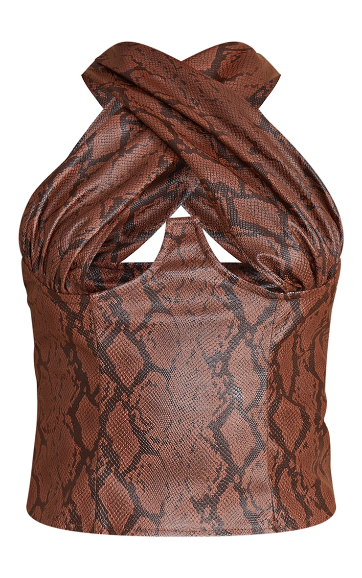 Brown Snake Pu Cross Front Underbust Halterneck Top 5