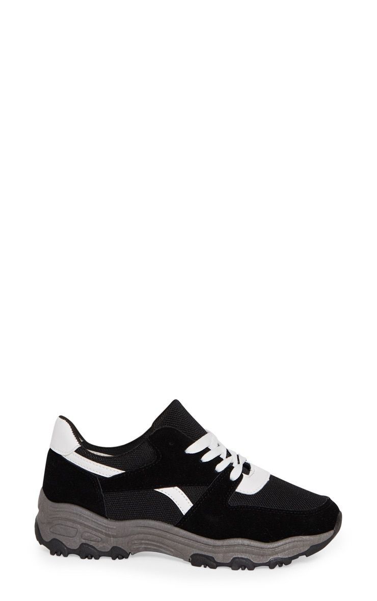 Black Lace Up Chunky Trainer 3