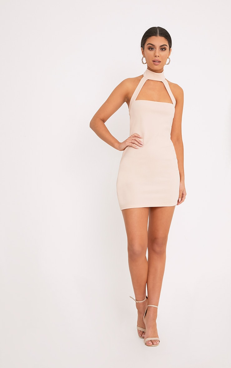 Corin Nude Strap Detail Bodycon Dress  4